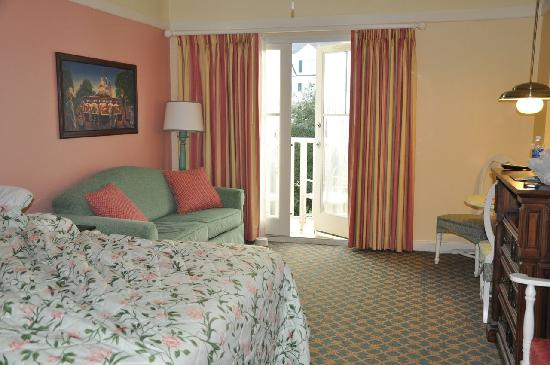 Disney's BoardWalk Villas: partial view of our studio room - queen bed and pull-out sofa