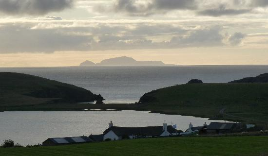 The Spiggie: View of Foula with Spiggie Hotel in foreground