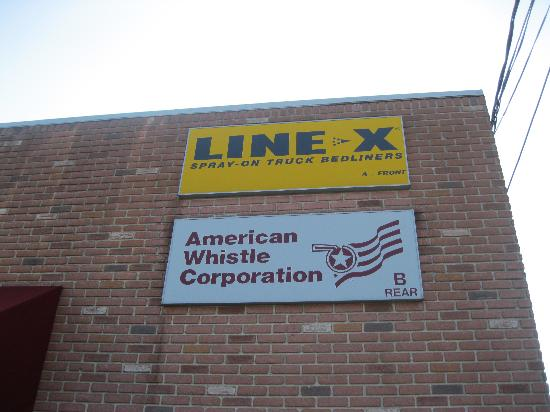 American Whistle Corp.: Sign on the outside of the building- look carefully or you will miss it!
