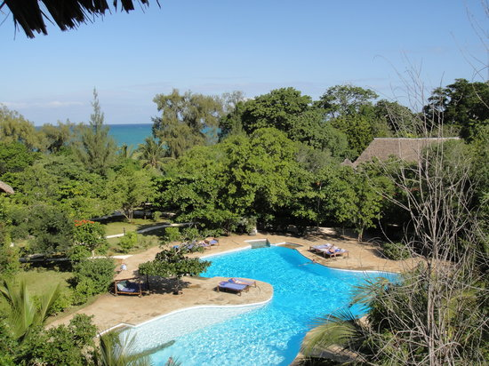 Kinondo Kwetu : the large pool - the view from the water tower.. monkeys were jumpinga round the trees!