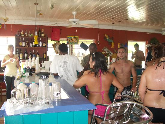 Busy bar at the Bottom Harbour Beach Club
