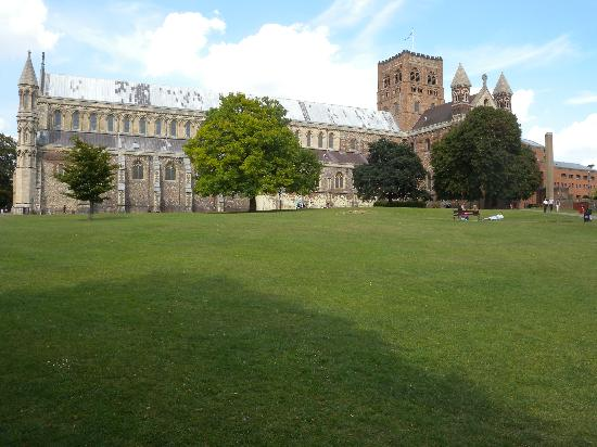 St Albans, UK: View of the cathdral from the field.