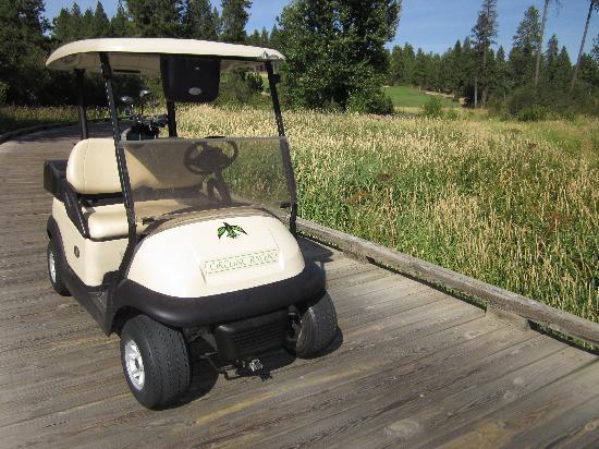Circling Raven Golf Club: The cart on a wetland bridge