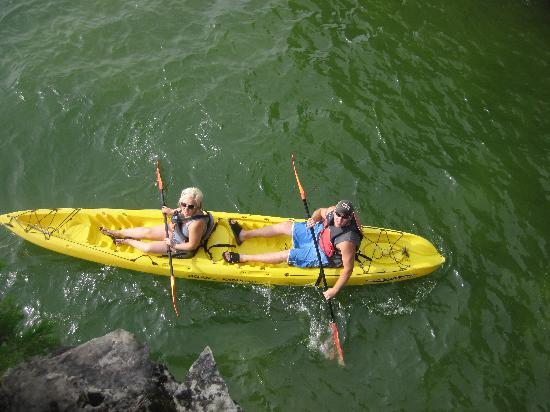 Door County Kayak Tours : Our Guide Took Photos from on top of a Cave