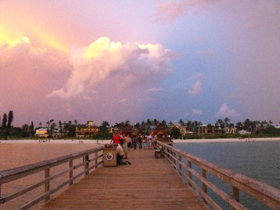 Naples Pier: Sunset with stormy sky on Pier