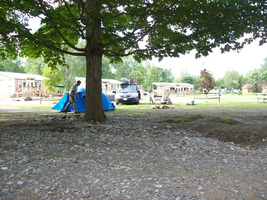 Herkimer KOA Campground: tent site viewed from river