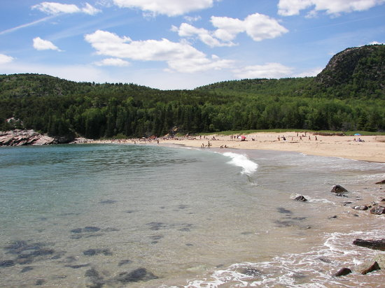 Acadia National Park, เมน: Beach lookout from rocks