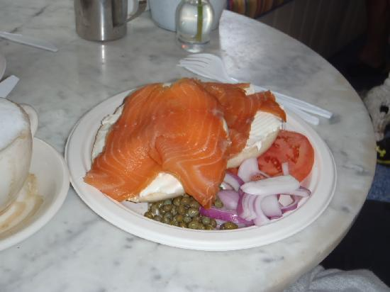 Among The Flowers Cafe: smoked salmon with bagel