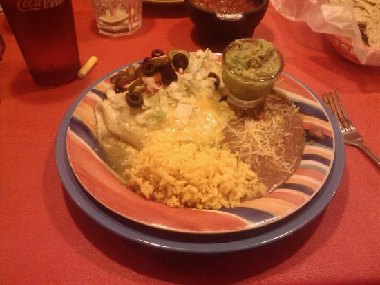 Jose's Cantina: Pork Burrito with beans, rice & a side of guac.