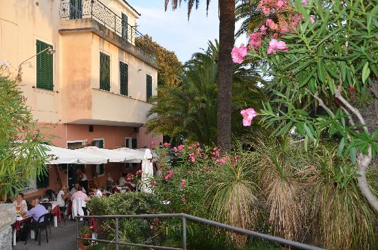 Bordighera, Italia: The restaurant pizzeria and the beautiful garden