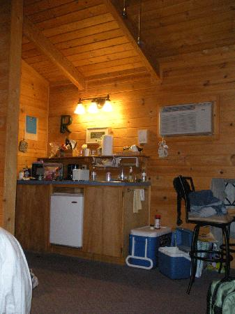 Winthrop Mountain View Chalets: View of kitchenette area from couch.