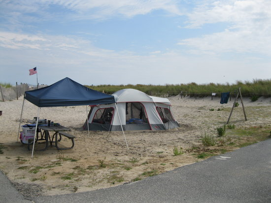 Assateague State Park Camping: camp site near the beach
