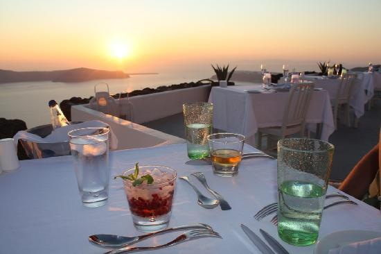 Grace Santorini Hotel: our dinner table at sunset