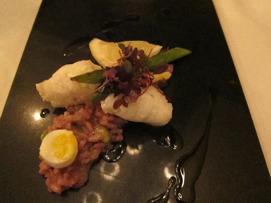 Langley Castle Restaurant: Lemon Sole and red wine risotto starter