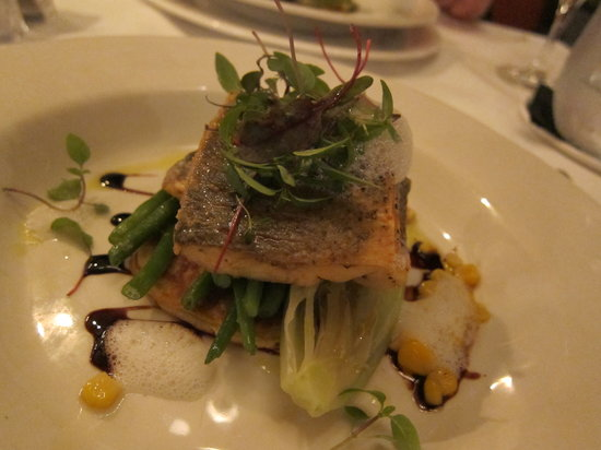 Langley Castle Restaurant: Sea Bass and sweetcorn blini, ginger foam