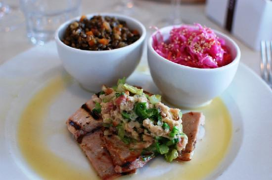 Eastern Seaboard: Rabbit loin w/lentils and Asian cole slaw (special that night)