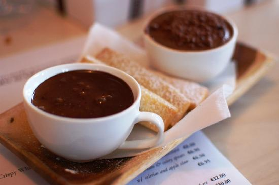Eastern Seaboard : Chocolate Heaven (warm chocolate sauce with shortbread biscuits) and mousse