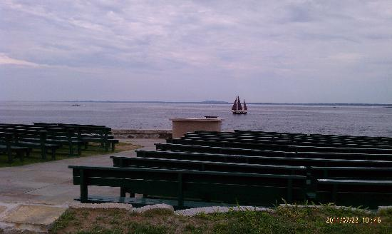 Saint Ann's Church: Outdoor service spot sailboat in background