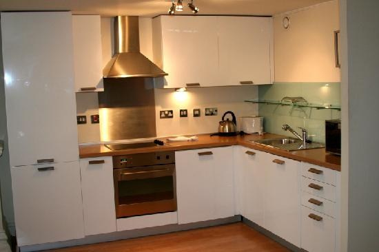 Town or Country Serviced Accommodation: The Kitchen of our one Bedroom apartment in Southwestern House