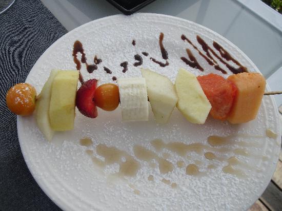 La Casa del Farol Hotel Boutique : La deliciosa brocheta de frutas