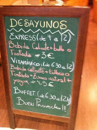 Ibis Bilbao Centro: ibis breakfast menu