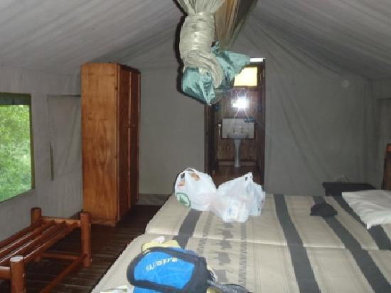 Mpila Camp: The bedroom. Spatious. Excuse the mess ;)