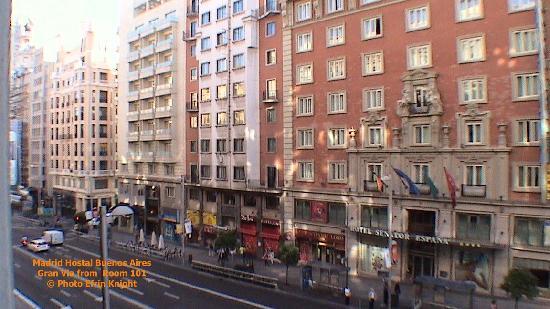 Hostal Buenos Aires, Gran Via from room 101