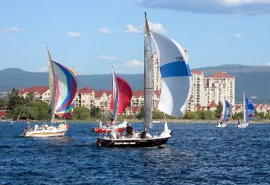 Sailboats in front of the Delta Grand Hotel in Kelowna