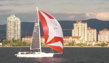 Sailing in front of the Delta Grand in Kelowna, B.C., Canada