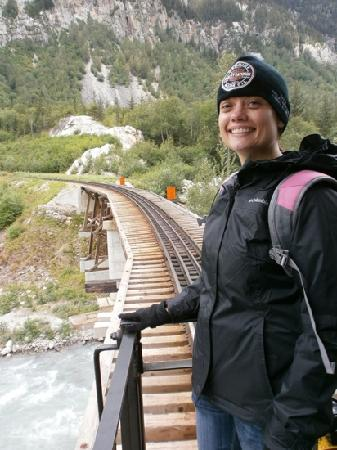 TEMSCO Helicopters - Skagway: Hanging out on the deck of the last car - very cool