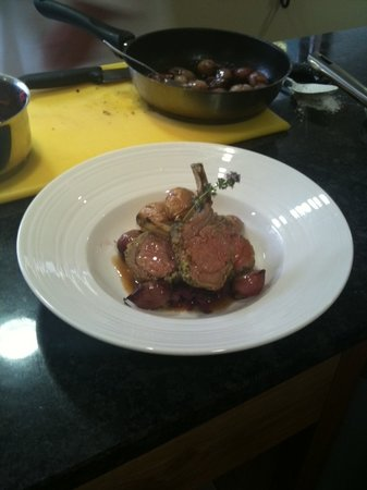 Tideswell School of Food: The final product - rack of lamb with braised red cabbage,