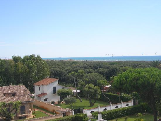 Golden Beach Hotel: View from hotel over sea and pine forest