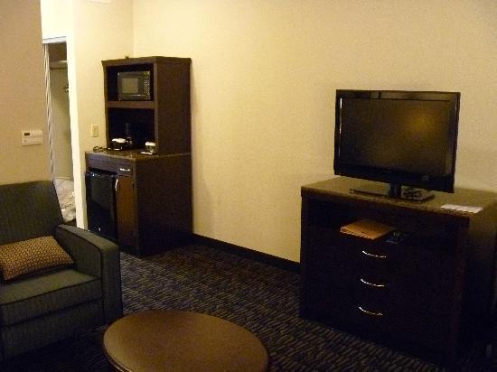 Hilton Garden Inn Jonesboro: Suite minibar/micro/fridge/TV areas