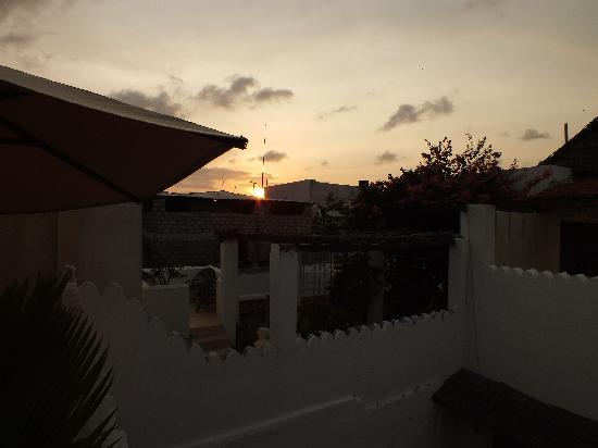Subira House: view to back of the private terrace at sun down