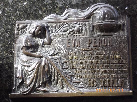 สุสานเรโคเลตา: Eva Peron plaque