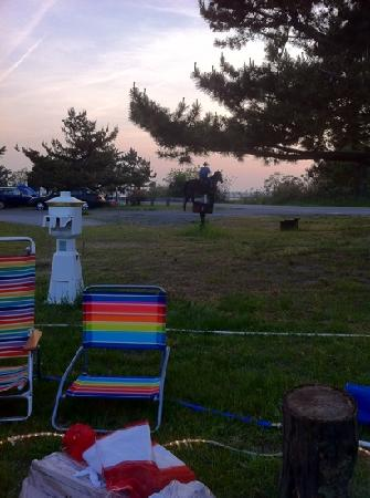 Salisbury Beach State Reservation Campground: mounted state police at sunset.