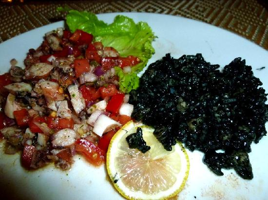 Dalmatino Dubrovnik : Combining the Black Cuttlefish Risotto and the Octopus Salad - FANTASTIC!!