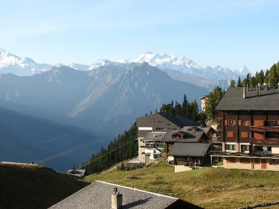 Hotel Bettmerhof: view from our hotel balcony - that 'Paramount PIctures' peak on the right above the chimney of t