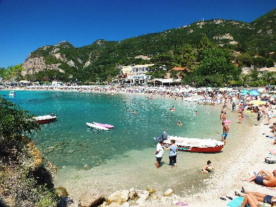 Corfú, Grecia: Main beach at Paleokastritsa