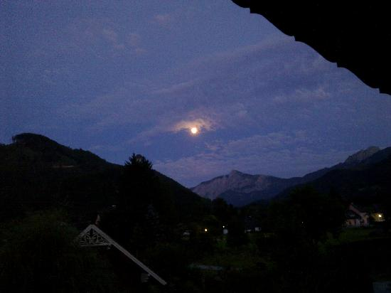 View of the waxing moon at twilight from Haus Loidl balcony