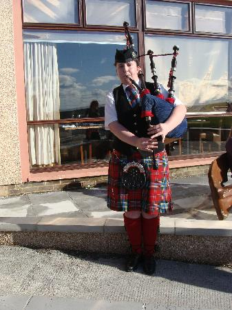 Banff, UK : A bagpiper was the official greeter!