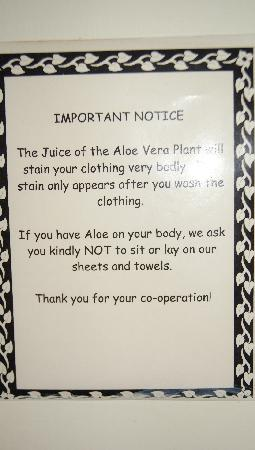 Meridian Inn : Don't think I've ever seen such a friendly notice in a hotel!