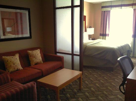Comfort Suites Airport: Sitting area and bed