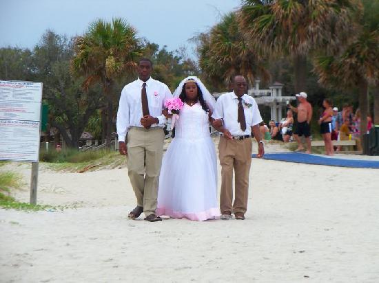Coligny Beach: Here comes the bride