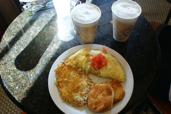 Cafe Envie: farmers omellete and large cappacino