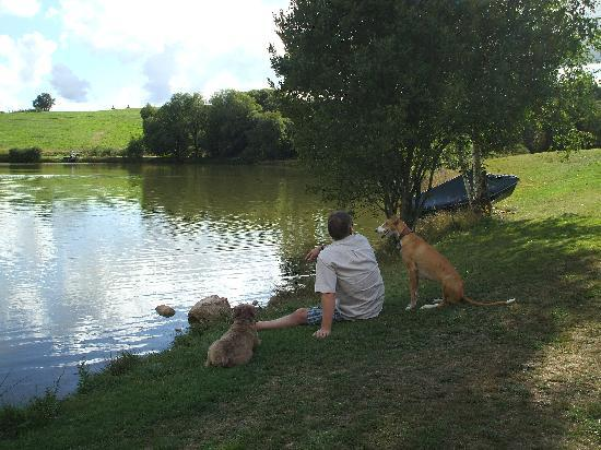 Boucherie: Relaxing by the lake with the owners' dogs