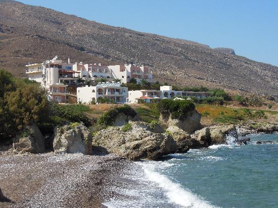 Balos Beach: l'hotel visto dal mare