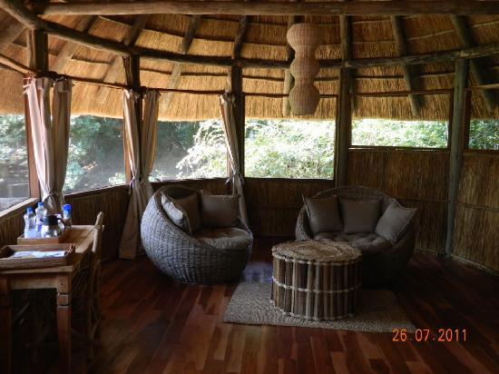 Bilimungwe Bushcamp - The Bushcamp Company: Sitting Area within the cabin