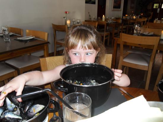 Y Sgwar: My baby girl eating a big bowl of mussels!