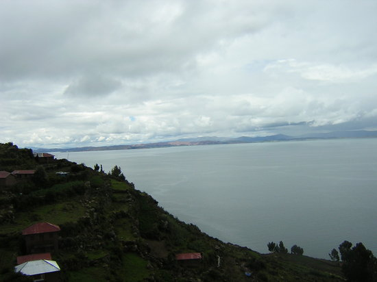 Taquile Island, Perù: The terrace and Lake Titicaca